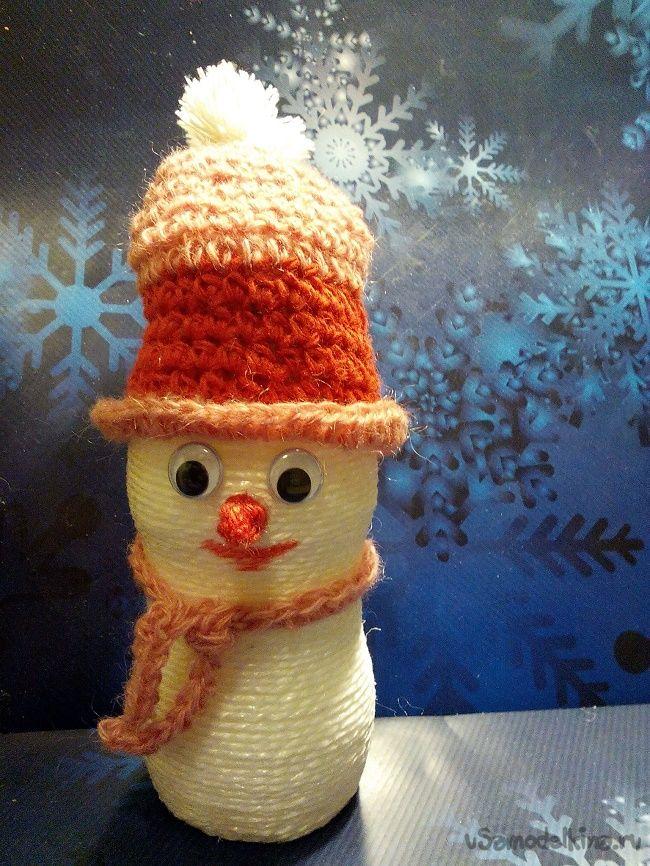 Снеговик из пластиковой бутылочки