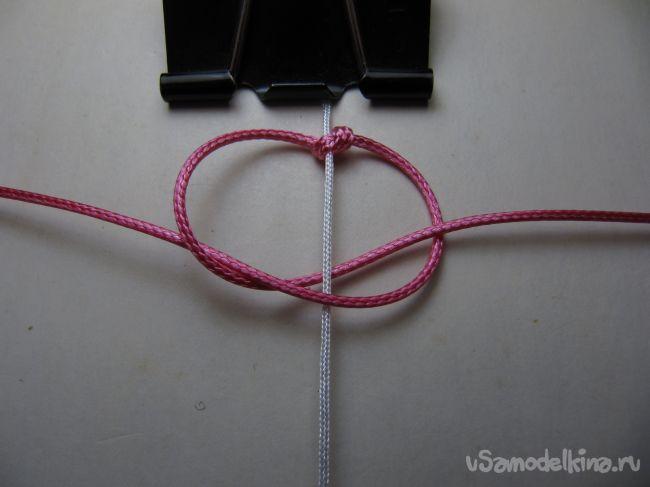 Плетеный браслет «Розовый закат»