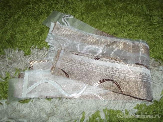 Бежевые заколки канзаши из тюля