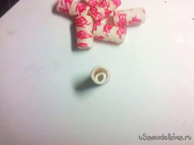 Бусины-цилиндры из полимерной глины