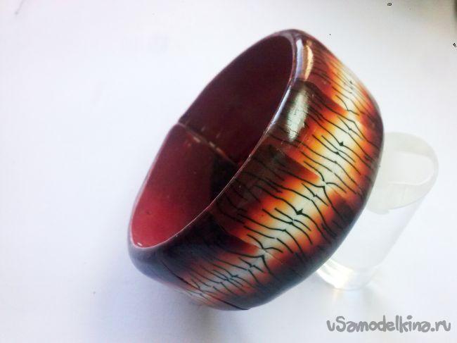 Браслет «Тигриная шкура» из полимерной глины