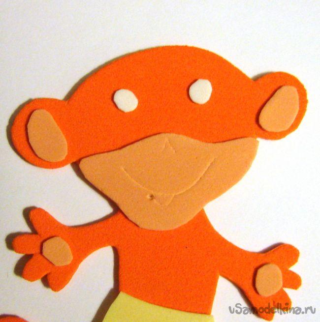 Мартышка-сюрприз из фоамирана на магните