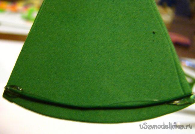 Новогодняя елочка из фоамирана - блокнот на магните