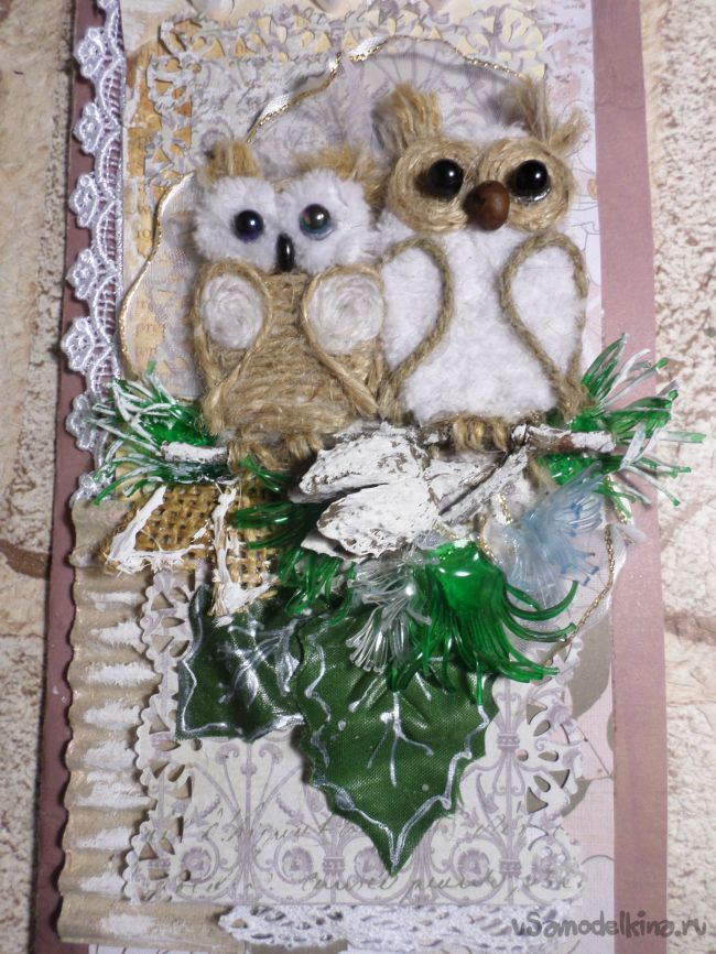 Новогодняя скрап открытка с совами