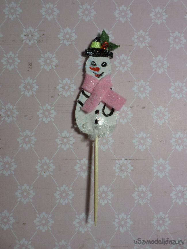 Шпажка для канапе «Снеговик»