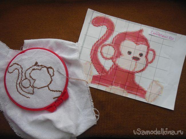 Украшаем блокнот вышивкой! Озорная обезьянка на обложке