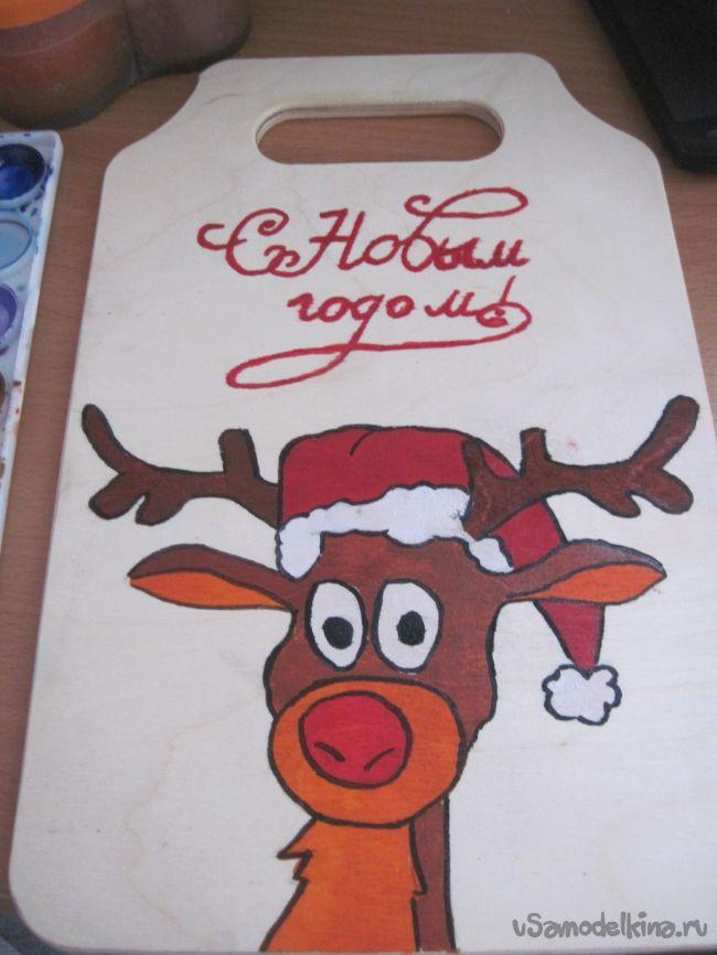 Роспись разделочной доски в новогоднем стиле