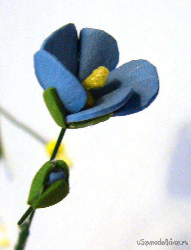 Голубой лён из фоамирана