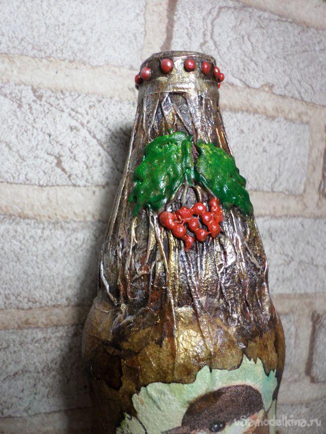 Декор бутылки в авторской технике «Ложный мрамор»