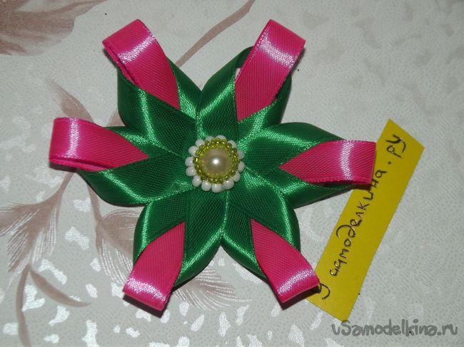 Простой цветок канзаши из ленты 1 см
