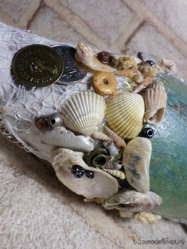 Декор бутылки в морском стиле