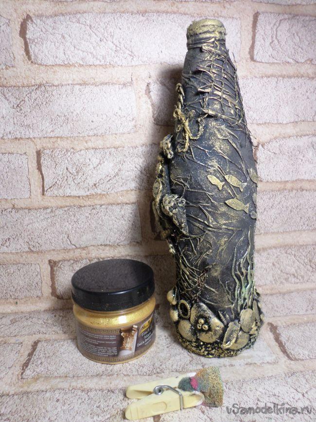 Декор бутылки в морском стиле с черепашкой